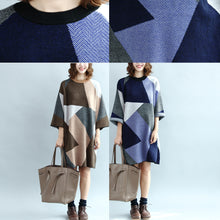 Load image into Gallery viewer, 2017 geometric patchwork cotton knit dresses plus size casual bracelet sleeved sweater dress