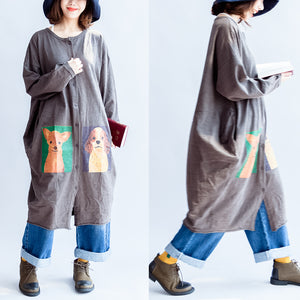 2017 gray cartoon print cotton cardigans plus size casual big coats