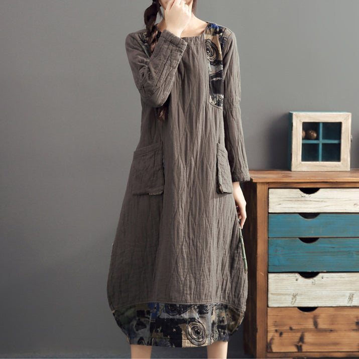 2021 gray long patchwork prink cotton thick dresses oversize o neck linen women warm dress