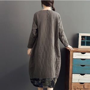 2017 gray long patchwork prink cotton thick dresses oversize o neck linen women warm dress
