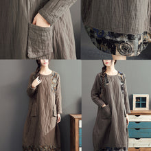 Load image into Gallery viewer, 2017 gray long patchwork prink cotton thick dresses oversize o neck linen women warm dress