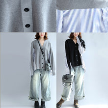 2017 gray striped cotton patchwork knit cardigan loose v neck sweater blouse