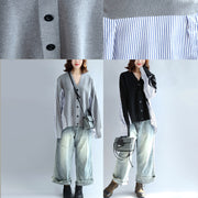 2021 gray striped cotton patchwork knit cardigan loose v neck sweater blouse