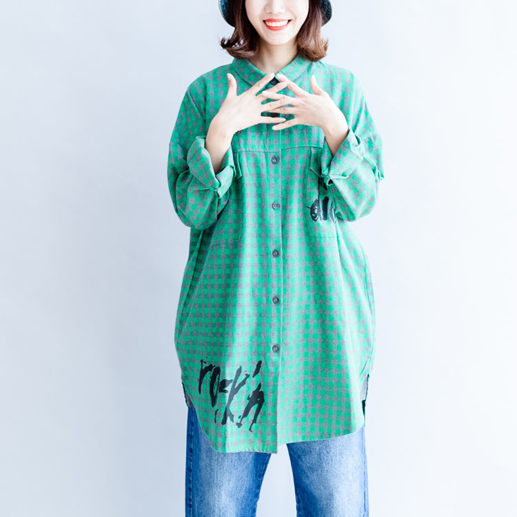 2017 green cartoon print cotton tops baggy loose grid casual long sleeve blouse