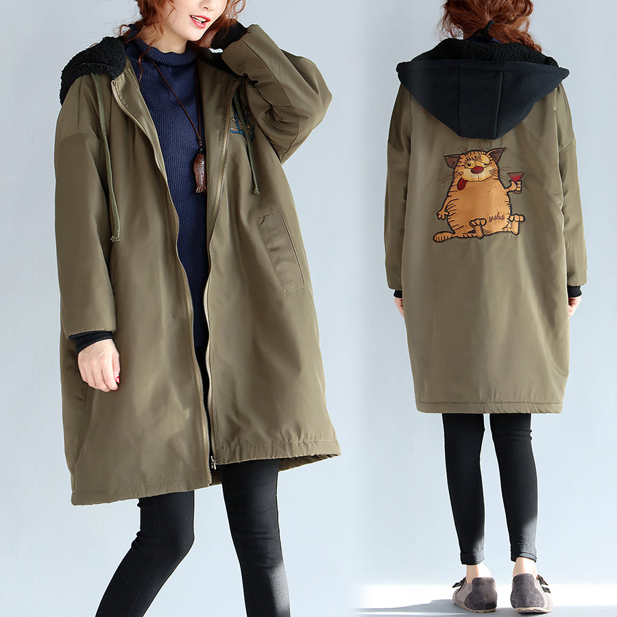 2017 green plus size cotton thick coats cartoon prints hooded warm zippered trench coats