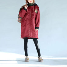 Load image into Gallery viewer, 2017 green plus size cotton thick coats cartoon prints hooded warm zippered trench coats
