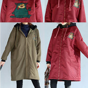 2021 green plus size cotton thick coats cartoon prints hooded warm zippered trench coats