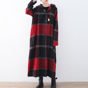 2017 green woolen coat casual trench coat plaid long coats hooded