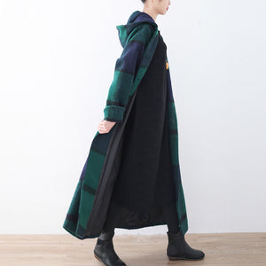 2021 green woolen coat casual trench coat plaid long coats hooded