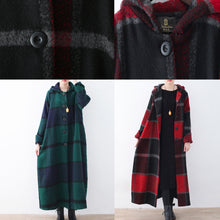Load image into Gallery viewer, 2021 green woolen coat casual trench coat plaid long coats hooded
