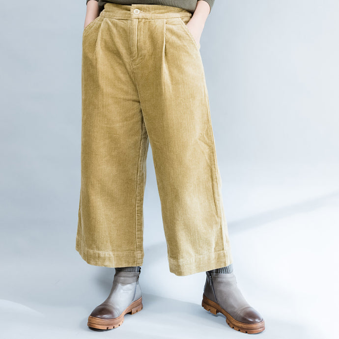 2017 khaki thick corduroy trousers loose casual wide leg pants