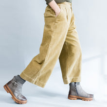 Load image into Gallery viewer, 2017 khaki thick corduroy trousers loose casual wide leg pants