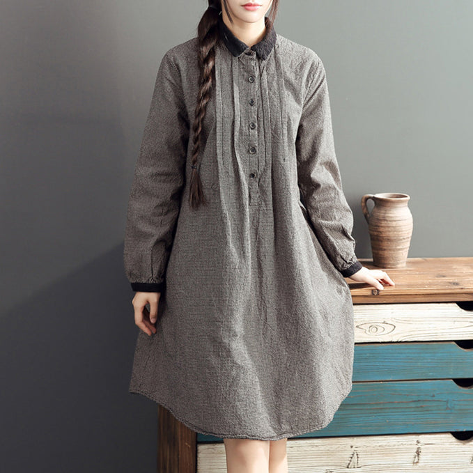 2017 lapel cotton warm mid dresses oversize high waist casual cotton dress