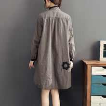 Load image into Gallery viewer, 2017 lapel cotton warm mid dresses oversize high waist casual cotton dress