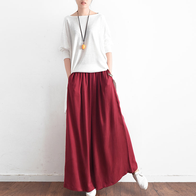 2017 long silk pants wide leg pants draping high waist trousers