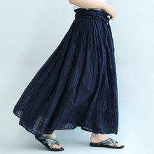 Load image into Gallery viewer, 2017 navy linen maxi skirts oversize elastic waist summer skirts