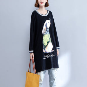 2017 new black cotton dresses baggy slim fit o neck casual dresses animal prints