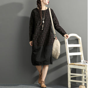 2017 new black prints cotton dresses oversize long sleeve thick warm women dress