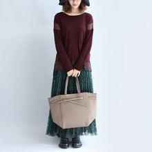 Load image into Gallery viewer, 2017 new burgundy patchwork woolen blended knit tops plus size pullover sweater side open