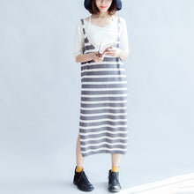 Load image into Gallery viewer, 2017 new fashion gray white striped sweater sleeveless dresses loose slim casual dress side open