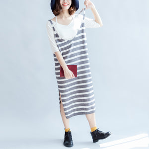 2017 new fashion gray white striped sweater sleeveless dresses loose slim casual dress side open