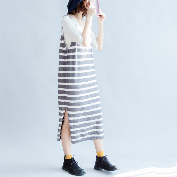 2021 new fashion gray white striped sweater sleeveless dresses loose slim casual dress side open