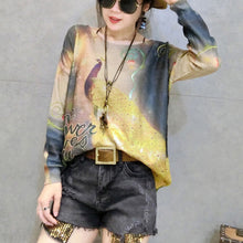 2017 new gold phoenix prints cotton knit tops plus size casual long sleeve sweater pullover