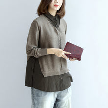 Afbeelding in Gallery-weergave laden, 2017 new khaki grid knit tops fine casual long sleeve pullover false two pieces