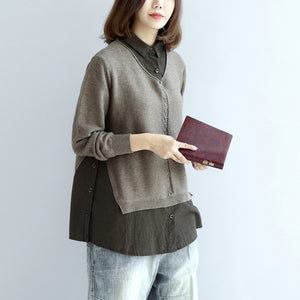 2017 new khaki grid knit tops top quality casual long sleeve pullover false two pieces