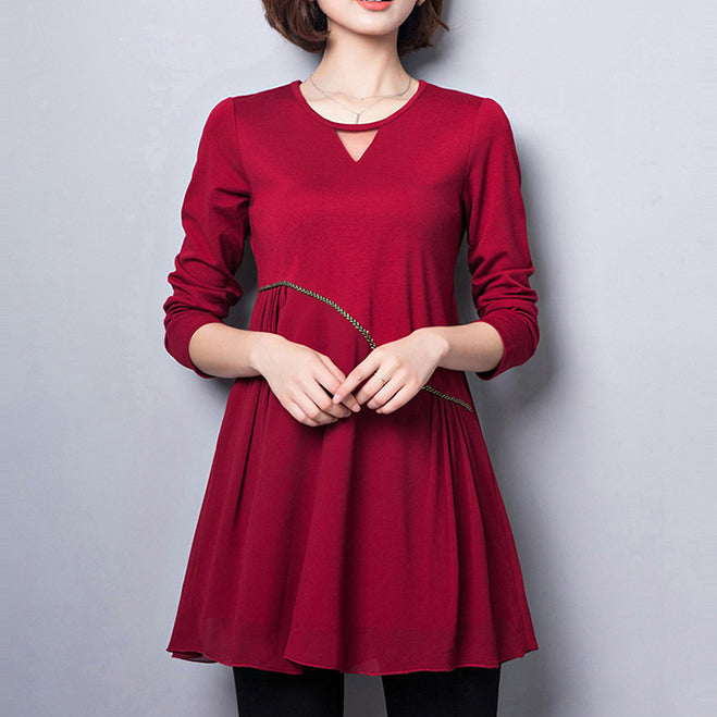 2017 new red cotton blended dresses loose slim fit v neck patchwork chiffon dress