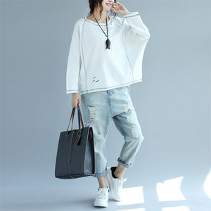 2017 new white cotton fashion tops plus size stylish pullover