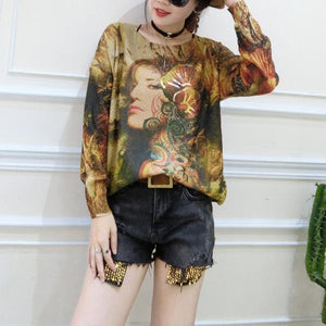 2017 plus size casual slim fit sweater t shirts fashion belle prints long sleeve knit pullover