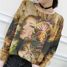 Load image into Gallery viewer, 2017 plus size casual slim fit sweater t shirts fashion belle prints long sleeve knit pullover