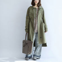 Load image into Gallery viewer, 2017 pockets green casual cotton parka plus size tie waist long sleeve trench coats