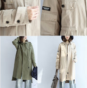 2021 pockets green casual cotton parka plus size tie waist long sleeve trench coats