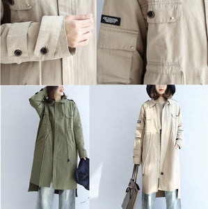 2017 pockets green casual cotton parka plus size tie waist long sleeve trench coats