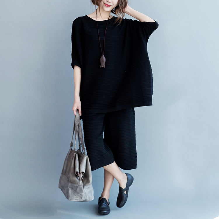 2021 stylish black cotton thin sweaters and casual wide leg pants knit two pieces