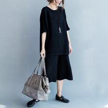 Afbeelding in Gallery-weergave laden, 2017 stylish black cotton thin sweaters and casual wide leg pants knit two pieces