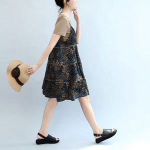 2017 summer brown casual t shirt and floral stylish sleeveless linen dresses two pieces