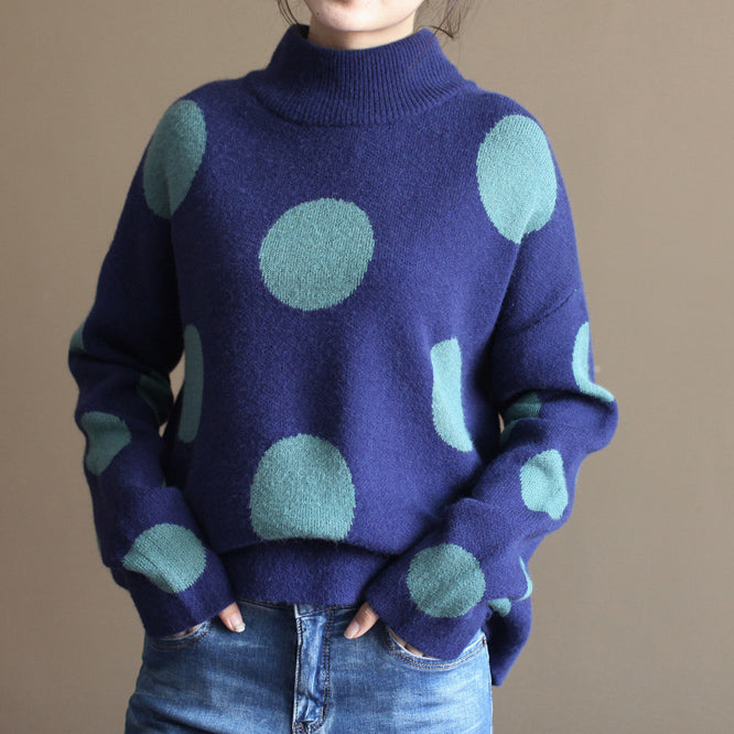 2017 thick warm blue big dotted rabbit wool tops plus size vintage knit sweater
