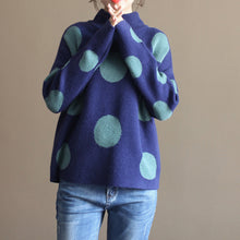 Load image into Gallery viewer, 2017 thick warm blue big dotted rabbit wool tops plus size vintage knit sweater