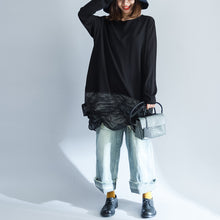 Load image into Gallery viewer, 2017 unique black cotton patchwork knit tops plus size casual long sleeve sweaters