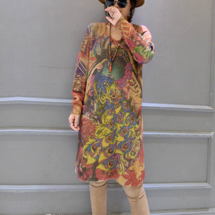 2021 vintage elastic woolen sweater dresses loose phoenix print casual women  cozy knit dress