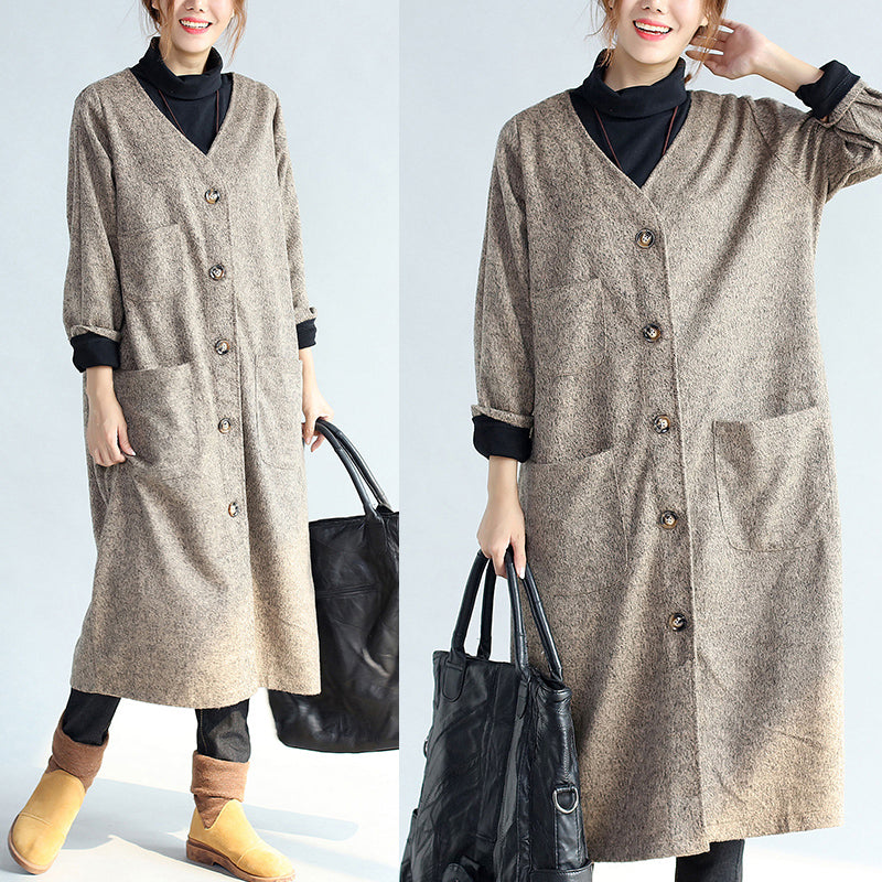 2021 vintage pockets khaki cotton long cardigans oversize long sleeve trench coats