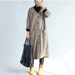 2017 vintage pockets khaki cotton long cardigans oversize long sleeve trench coats