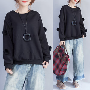 2017 winter black fuzzy ball decorated woolen sweater plus size o neck fashion knit tops