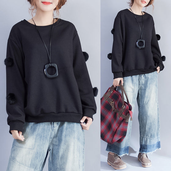 2021 winter black fuzzy ball decorated woolen sweater plus size o neck fashion knit tops