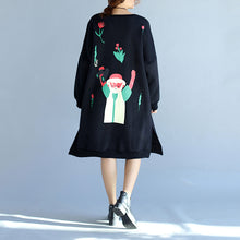 2017 winter black thick cotton dresses plus size prints long sleeve side open  casual shift dress