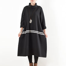 Load image into Gallery viewer, 2017 winter black thick cotton sweat dresses plus size winter dress warm velour inside