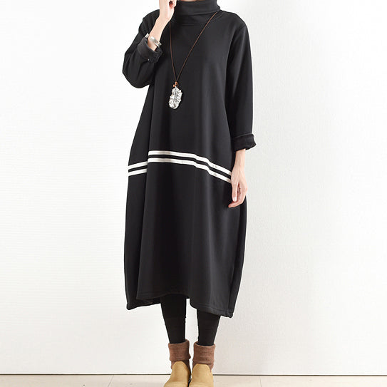 2021 winter black thick cotton sweat dresses plus size winter dress warm velour inside